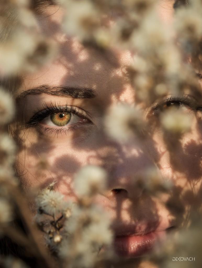 Neobična fotografija lica snimljenog kroz žbun cvetova i senkama na licu