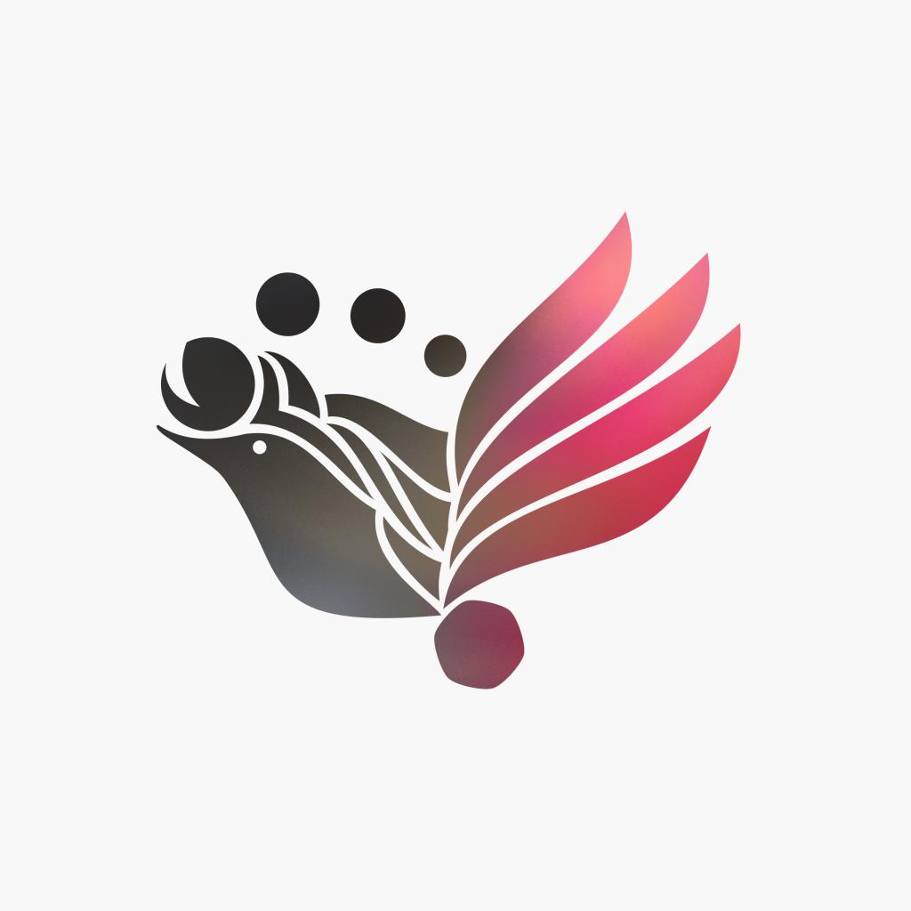 Ptica pink-siva pozadina za telefon, računar tablet